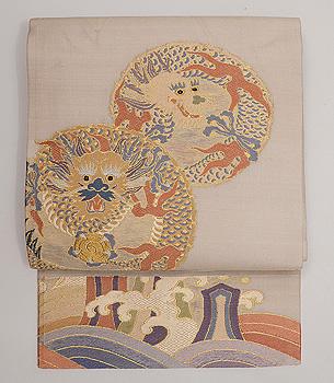 龍丸文様紗の名古屋帯