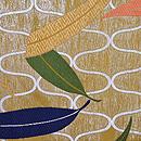 網手に笹文様紗の丸帯 前柄