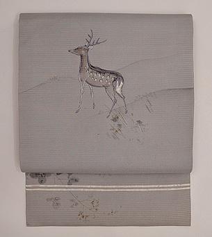 鹿文様絽の名古屋帯