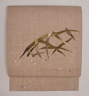 蛇籠文様刺繍の麻名古屋帯