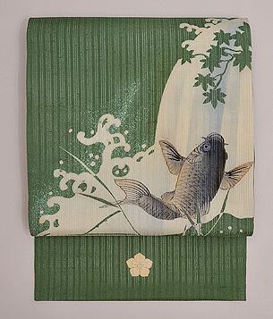 鯉の滝昇り図名古屋帯