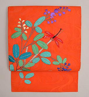 萩に赤とんぼ刺繍文紗名古屋帯