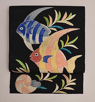 黒地魚の刺繍名古屋帯