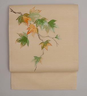 紅葉絽紗の刺繍名古屋帯