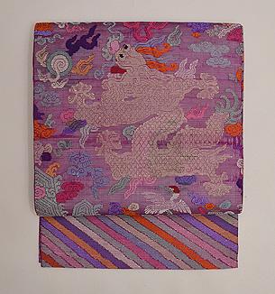紅紫色朝服崩し紗の名古屋帯