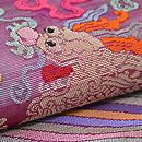 紅紫色朝服崩し紗の名古屋帯 質感・風合
