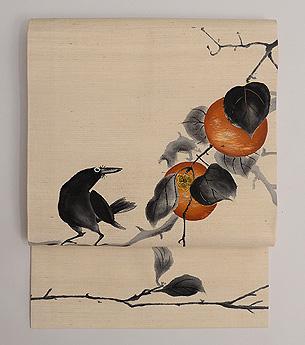 柿にカラスの染め名古屋帯