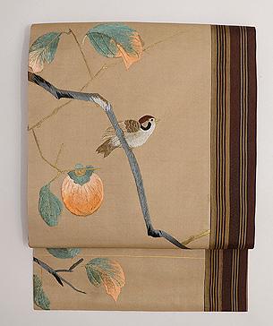 柿枝に雀、ボーダーの名古屋帯