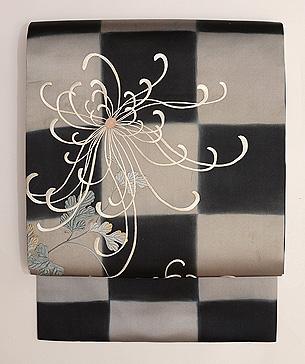 石畳に糸菊文様刺繍名古屋帯