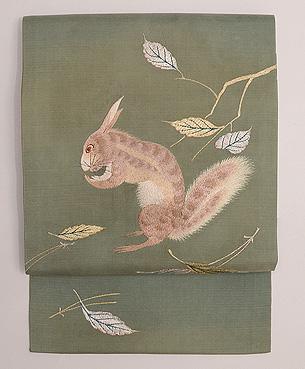 くぬぎ林にリスの刺繍名古屋帯