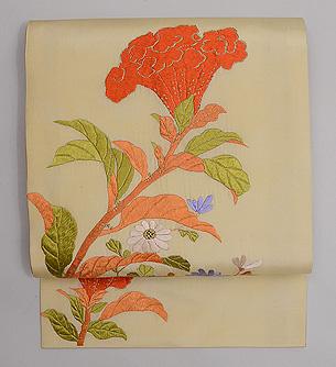 鶏頭に野菊の刺繍名古屋帯