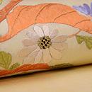 鶏頭に野菊の刺繍名古屋帯 質感・風合