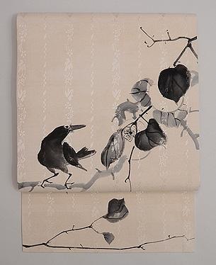 柿枝にカラス墨絵の名古屋帯