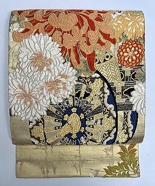花車文様袋帯