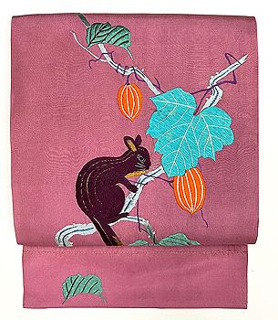 烏瓜の木にリスの刺繍名古屋帯
