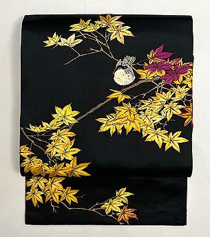 紅葉にヤマドリの刺繍名古屋帯