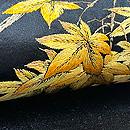 紅葉にヤマドリの刺繍名古屋帯 質感・風合