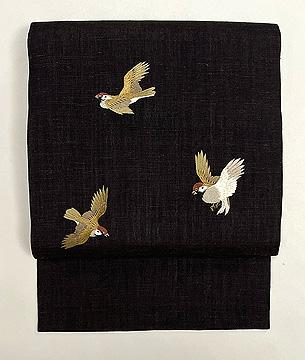 結城縮に雀の刺繍名古屋帯
