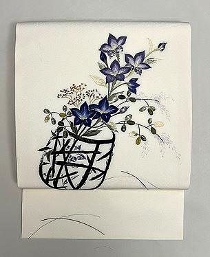 秋の花籠刺繍名古屋帯