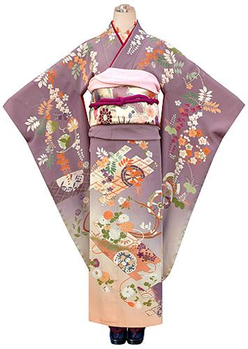 枝垂れ藤に花丸紋錦紗振袖