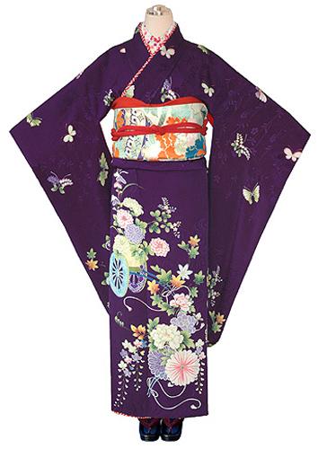 蝶々に花車紋錦紗振袖
