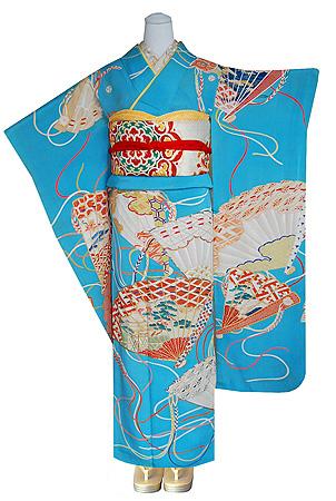 檜扇の図刺繍振袖