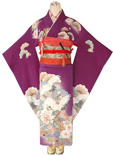 笠松に芍薬鶴の図縮緬振袖