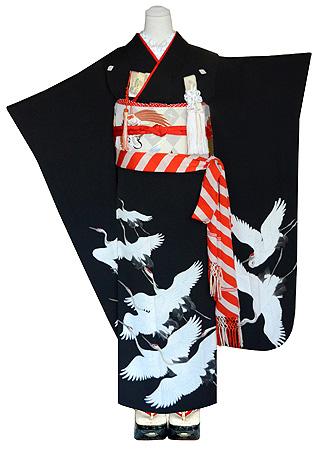 丹頂鶴の図黒振袖