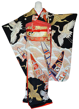 祝い舟に金銀飛翔鶴刺繍黒引き振袖