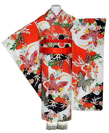 蝶々枝垂れ藤菊花文様祝い着
