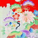 祝い鶴に花々錦紗祝い着