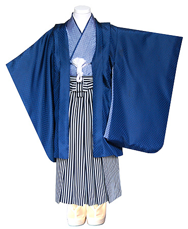 藍市松地文羽織に縞袴