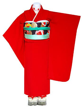 真紅縮緬祝い着に手鞠文丸帯