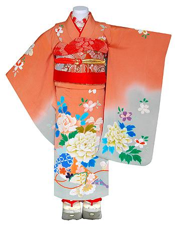 春の祝事桜に薔薇文錦紗祝い着