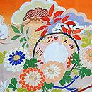 笠松菊に扇面の図錦紗祝い着