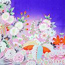 枝垂れ桜に花くす玉紋錦紗祝着