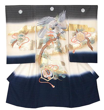 鷹に松宝の図祝い着